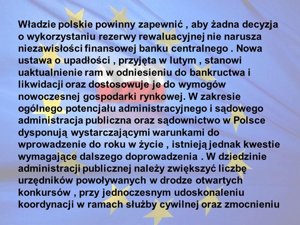 Władzie polskie powinny zapewnić , aby żadna decyzja o wykorzystaniu rezerwy rewaluacyjnej nie narusza niezawisłości finansowej banku centralnego .