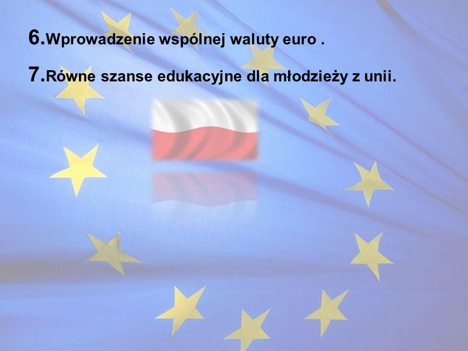 6. Wprowadzenie wspólnej waluty euro. 7