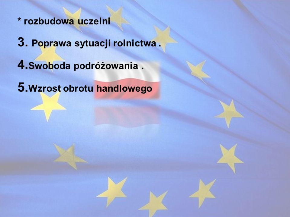 3. Poprawa sytuacji rolnictwa . 4.Swoboda podróżowania .