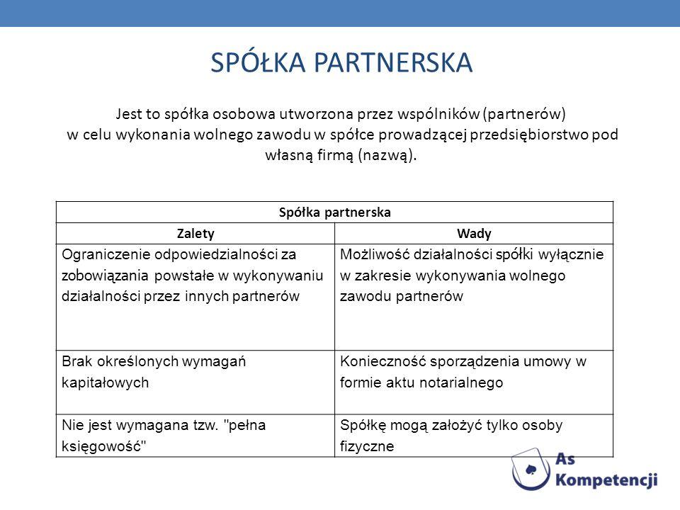 Jest to spółka osobowa utworzona przez wspólników (partnerów)