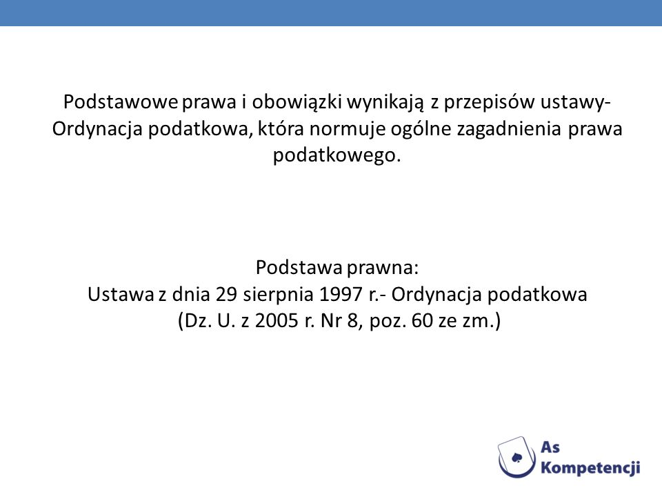Ustawa z dnia 29 sierpnia 1997 r.- Ordynacja podatkowa