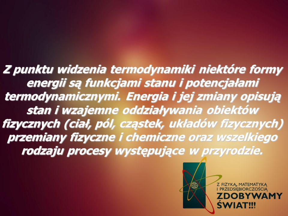 Z punktu widzenia termodynamiki niektóre formy energii są funkcjami stanu i potencjałami termodynamicznymi.