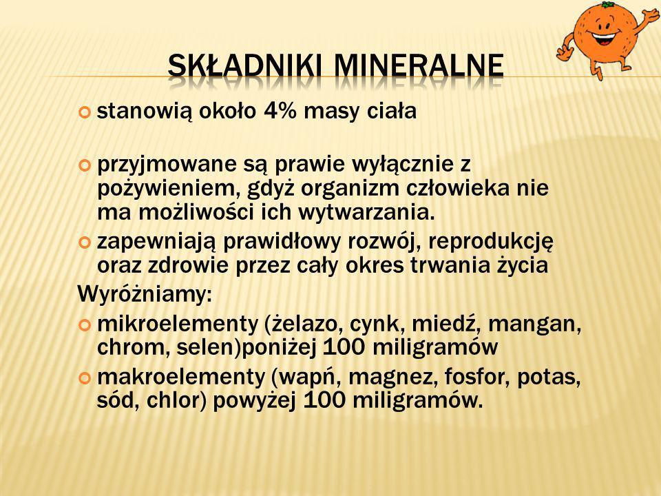 Składniki mineralne stanowią około 4% masy ciała