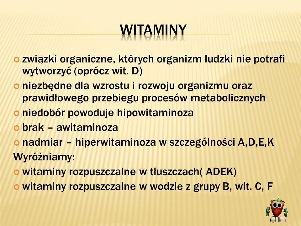 Witaminyzwiązki organiczne, których organizm ludzki nie potrafi wytworzyć (oprócz wit. D)