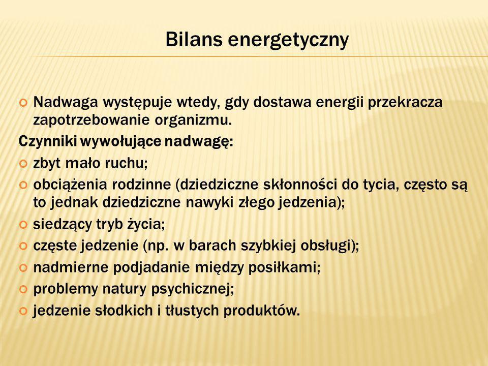 Bilans energetyczny Nadwaga występuje wtedy, gdy dostawa energii przekracza zapotrzebowanie organizmu.