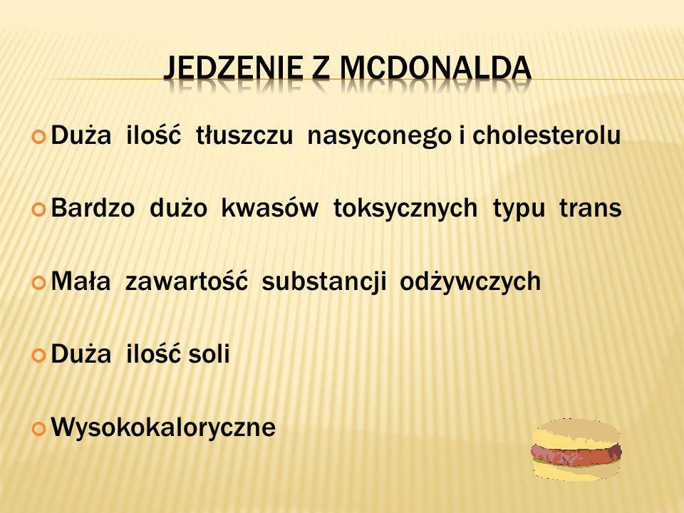 Jedzenie z mcdonalda Duża ilość tłuszczu nasyconego i cholesterolu