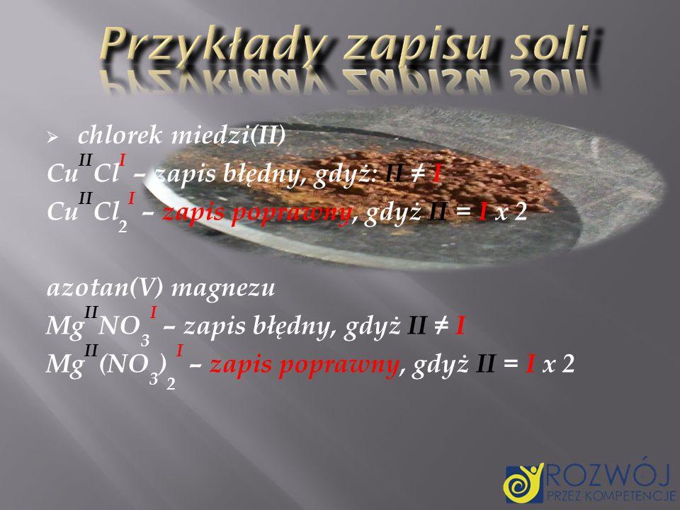 Przykłady zapisu soli chlorek miedzi(II)