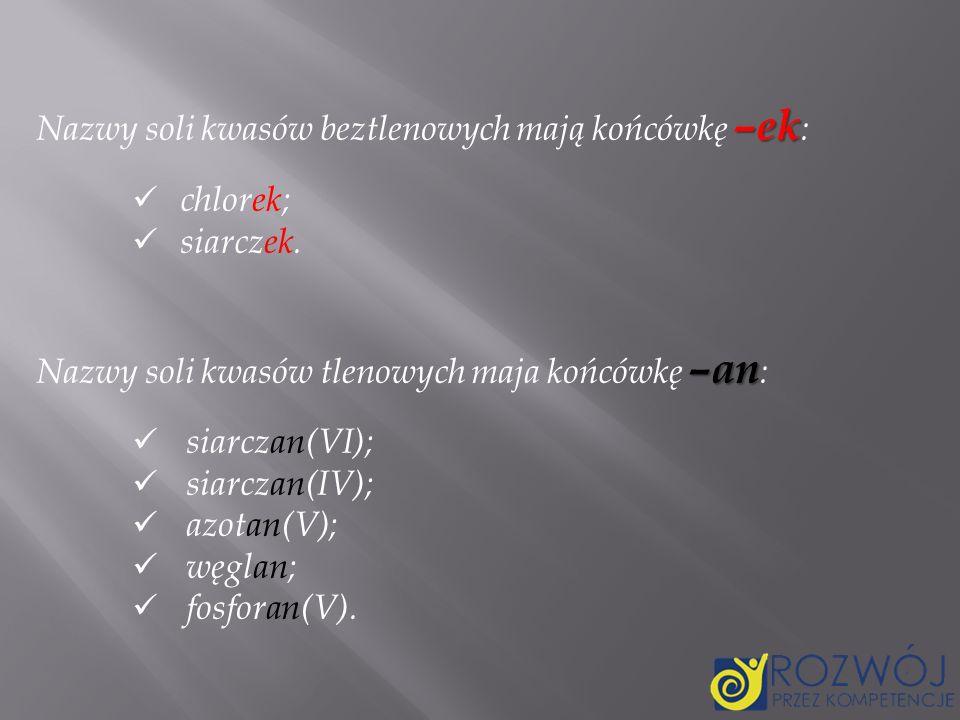Nazwy soli kwasów beztlenowych mają końcówkę –ek: