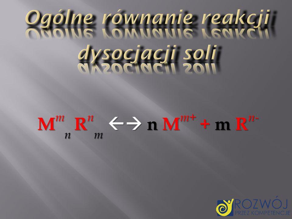 Ogólne równanie reakcji dysocjacji soli