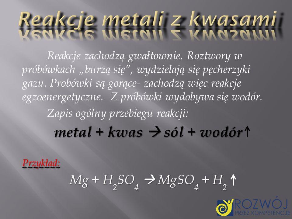 Reakcje metali z kwasami
