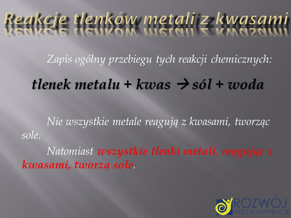 Reakcje tlenków metali z kwasami
