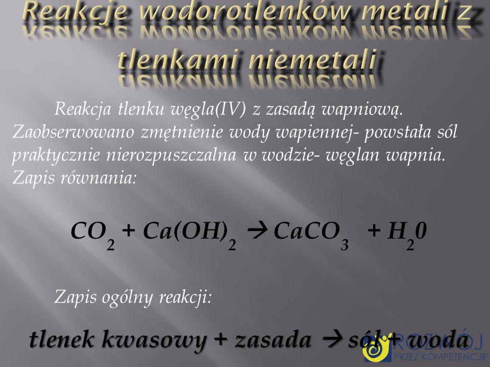 Reakcje wodorotlenków metali z tlenkami niemetali