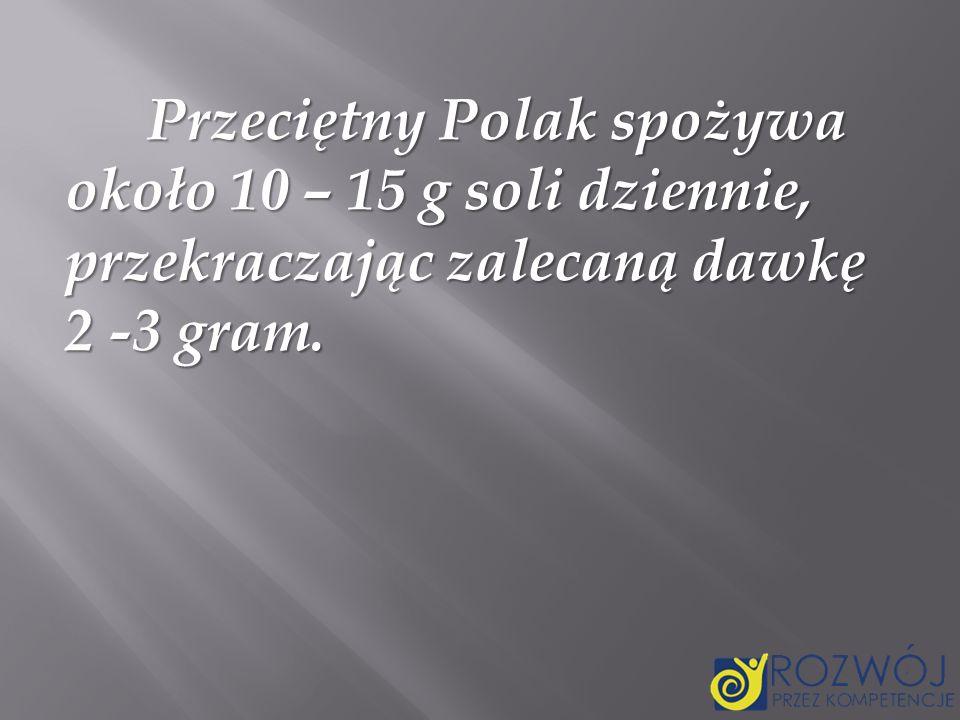 Przeciętny Polak spożywa około 10 – 15 g soli dziennie, przekraczając zalecaną dawkę 2 -3 gram.