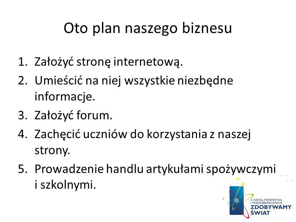 Oto plan naszego biznesu