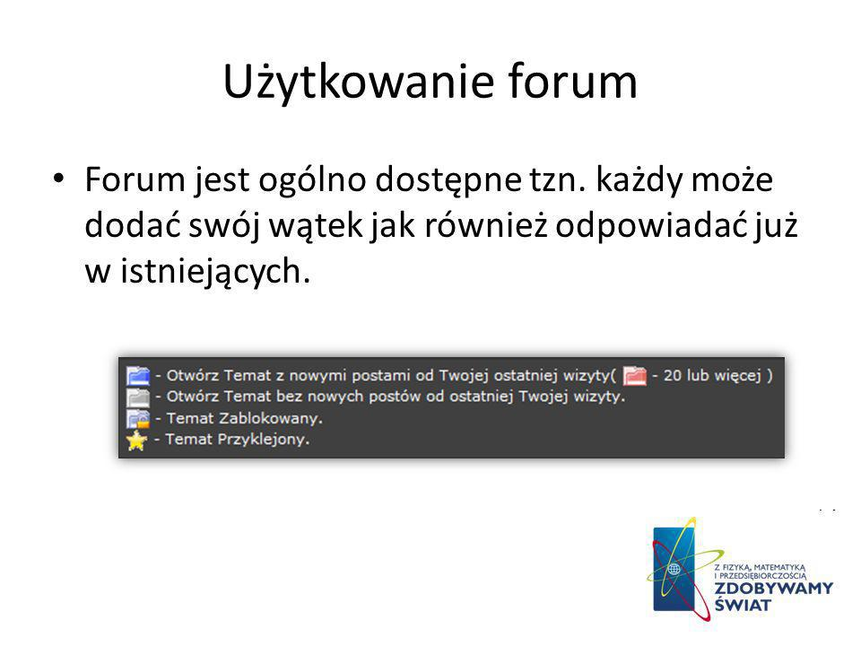 Użytkowanie forum Forum jest ogólno dostępne tzn.