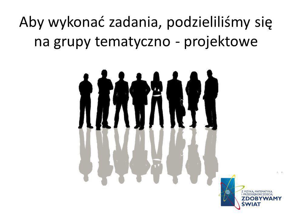 Aby wykonać zadania, podzieliliśmy się na grupy tematyczno - projektowe