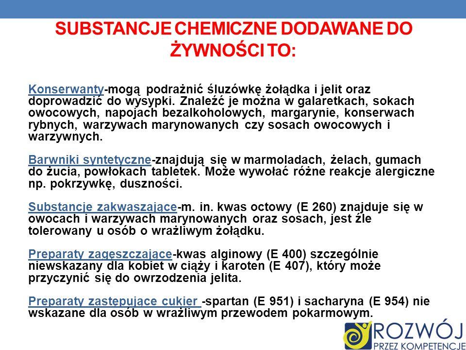 Substancje chemiczne dodawane do żywności to: