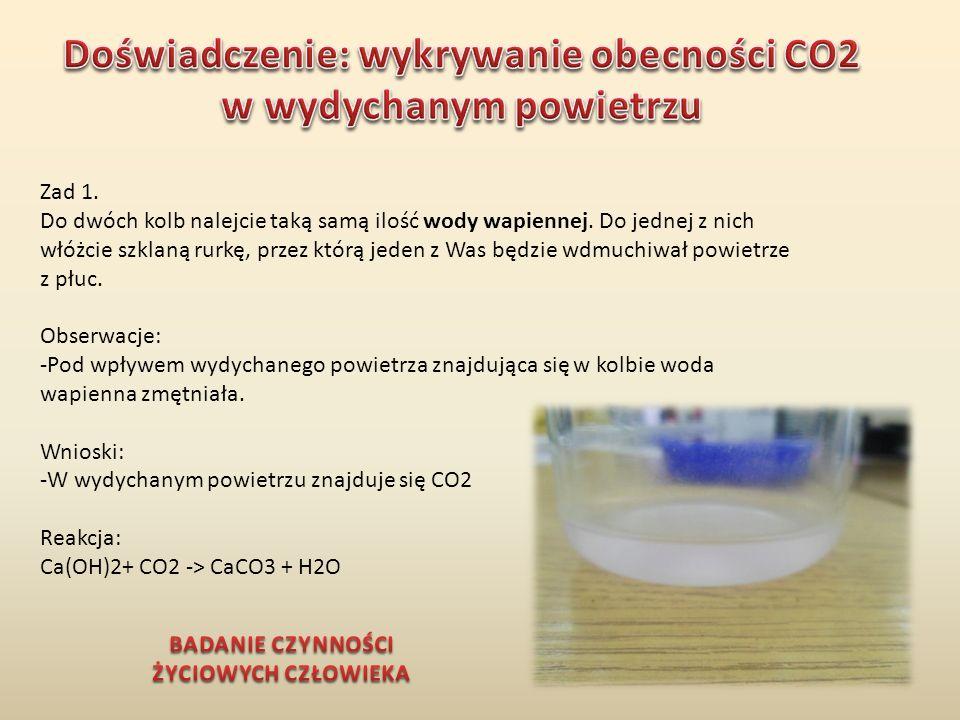 Doświadczenie: wykrywanie obecności CO2 w wydychanym powietrzu