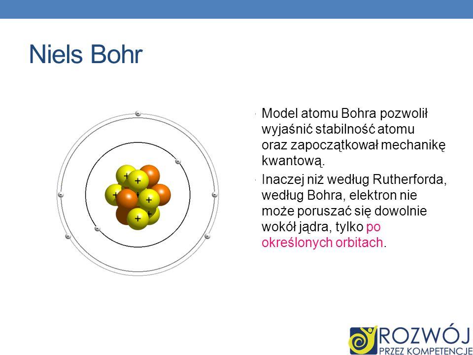Niels BohrModel atomu Bohra pozwolił wyjaśnić stabilność atomu oraz zapoczątkował mechanikę kwantową.