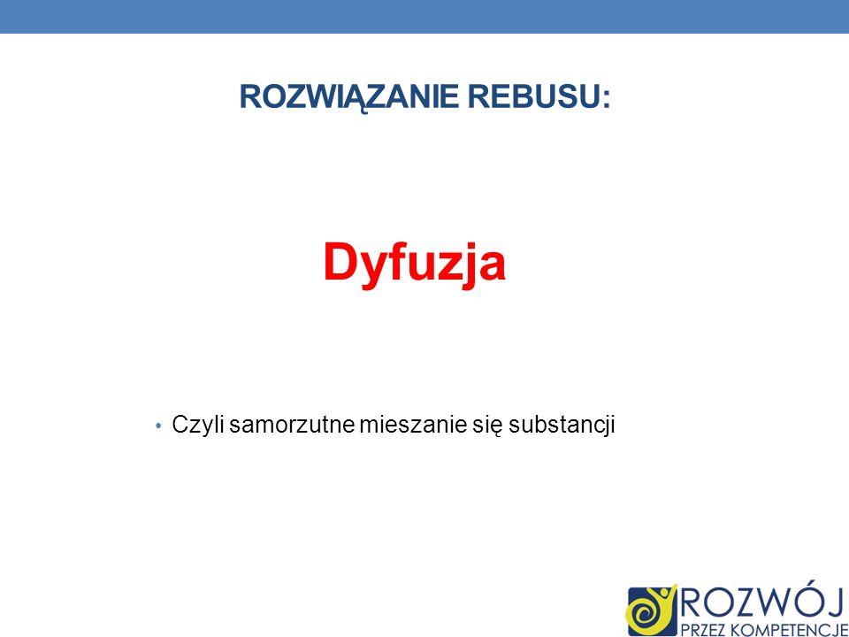 Rozwiązanie rebusu: Dyfuzja Czyli samorzutne mieszanie się substancji