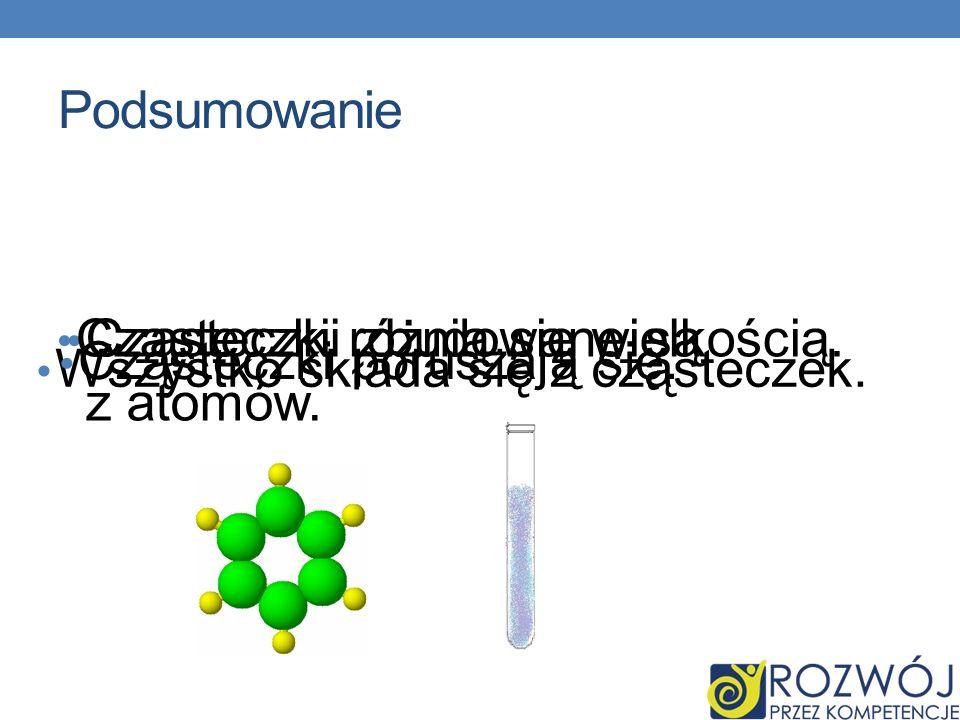Podsumowanie Cząsteczki różnią się wielkością. Cząsteczki zbudowane są z atomów. Cząsteczki poruszają się.
