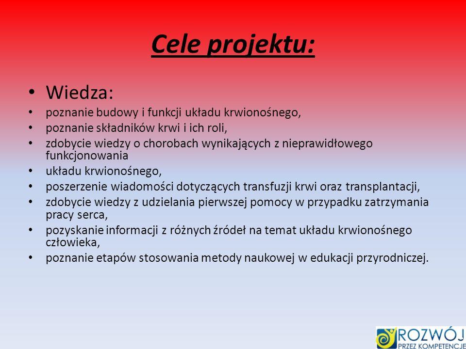 Cele projektu: Wiedza: poznanie budowy i funkcji układu krwionośnego,
