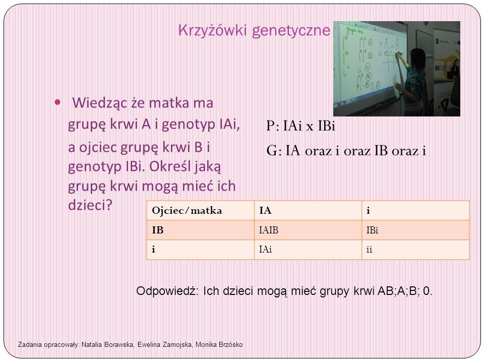 Wiedząc że matka ma grupę krwi A i genotyp IAi, P: IAi x IBi
