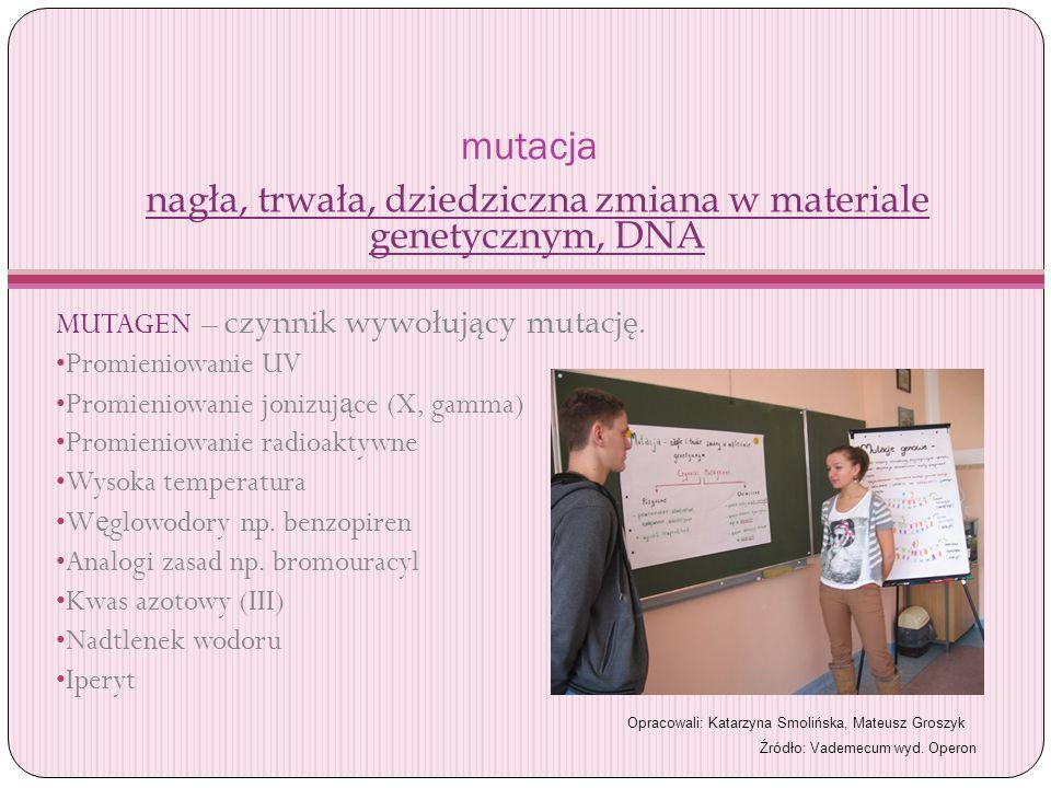 nagła, trwała, dziedziczna zmiana w materiale genetycznym, DNA