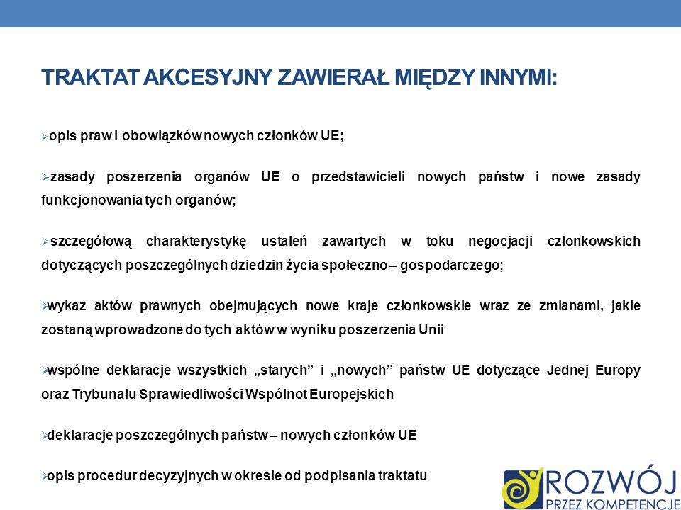 Traktat Akcesyjny zawierał między innymi: