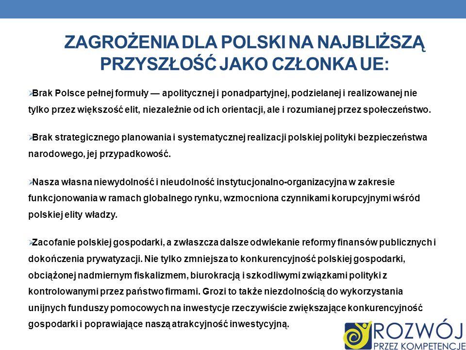 Zagrożenia dla polski na najbliższą przyszłość jako członka ue: