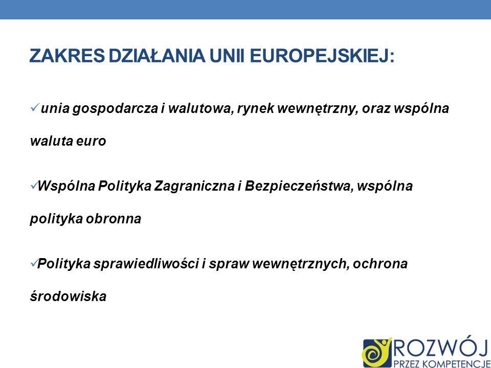 Zakres działania Unii europejskiej: