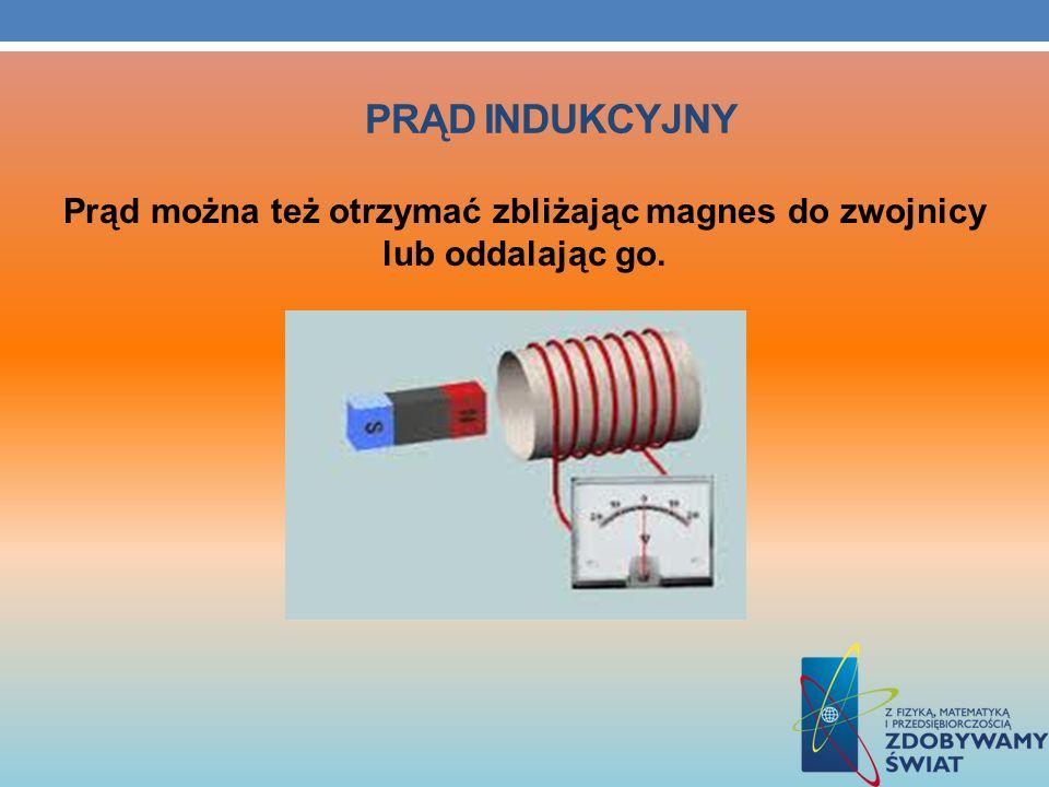 Prąd można też otrzymać zbliżając magnes do zwojnicy lub oddalając go.
