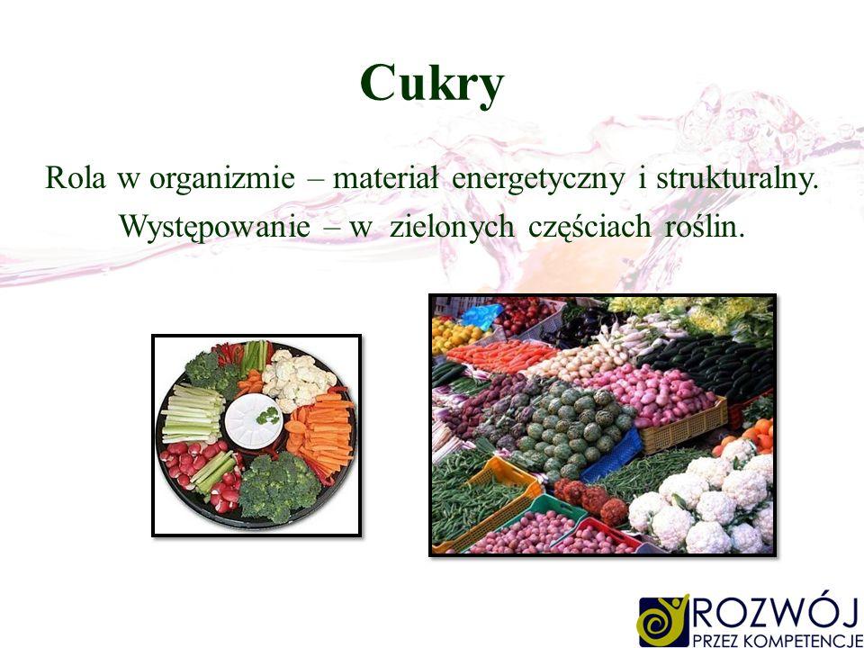 Cukry Rola w organizmie – materiał energetyczny i strukturalny.