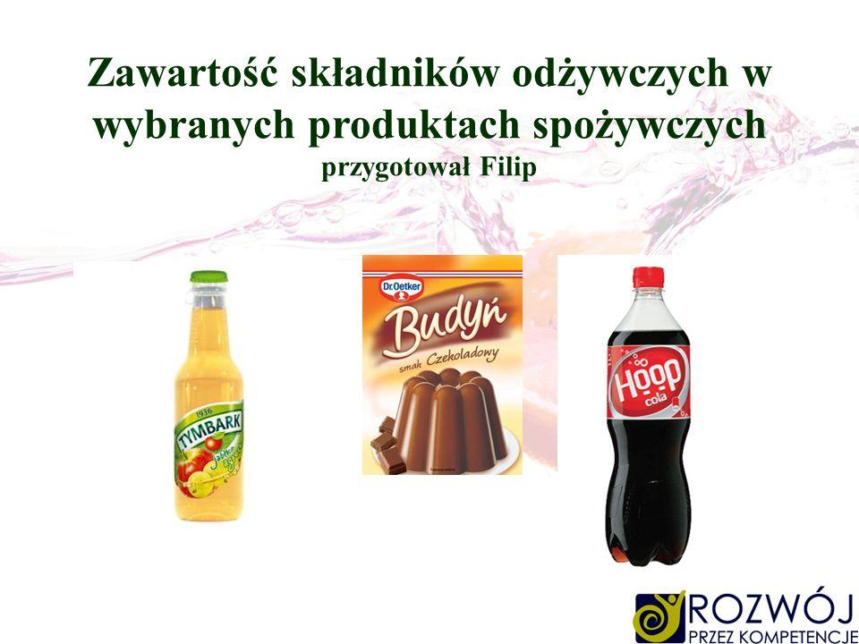 Zawartość składników odżywczych w wybranych produktach spożywczych przygotował Filip