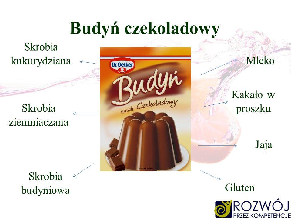 Budyń czekoladowy Skrobia kukurydziana Mleko Kakało w proszku