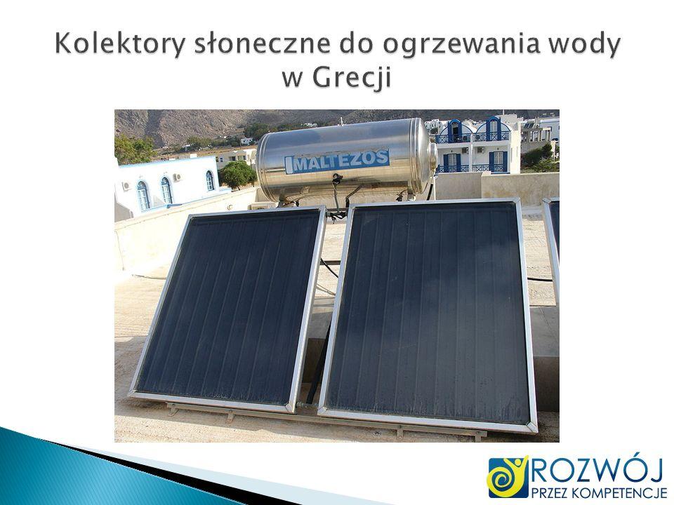 Kolektory słoneczne do ogrzewania wody w Grecji