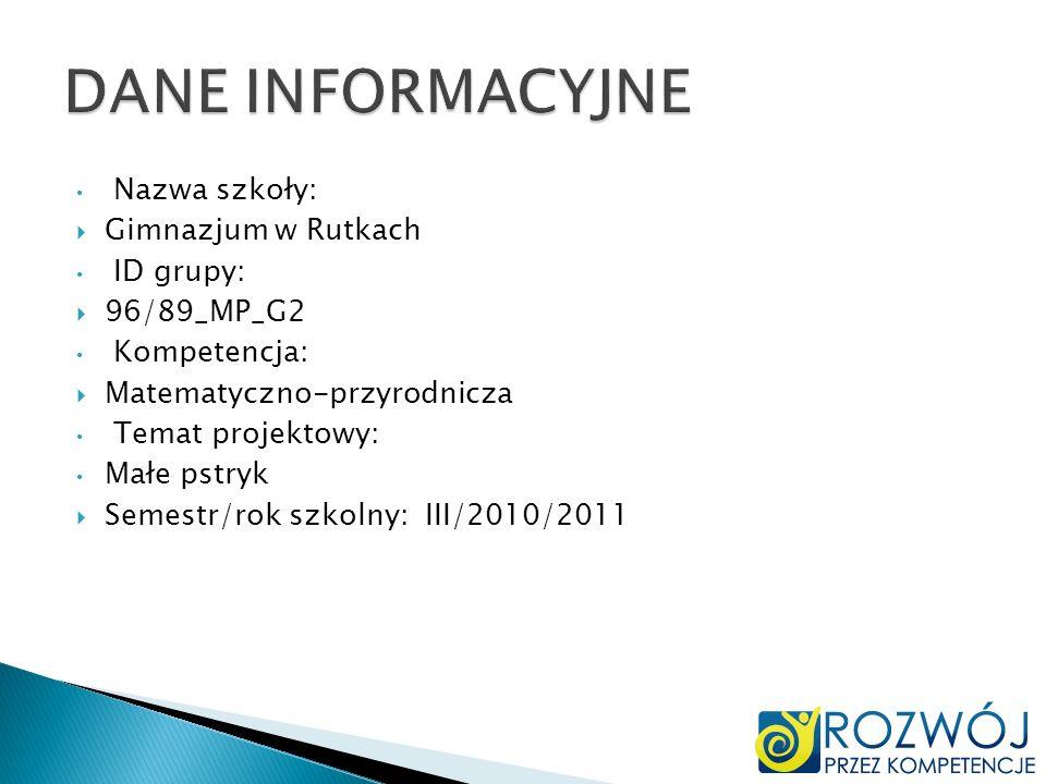 DANE INFORMACYJNE Nazwa szkoły: Gimnazjum w Rutkach ID grupy: