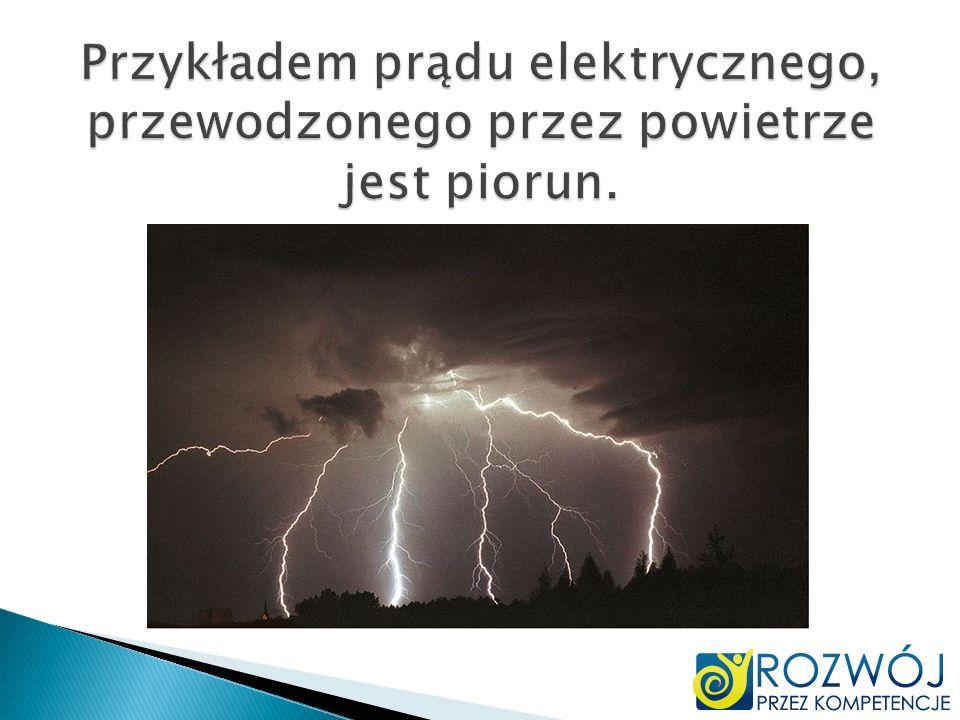 Przykładem prądu elektrycznego, przewodzonego przez powietrze jest piorun.