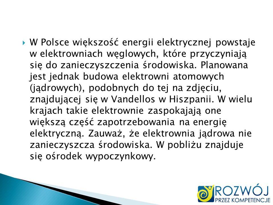 W Polsce większość energii elektrycznej powstaje w elektrowniach węglowych, które przyczyniają się do zanieczyszczenia środowiska.