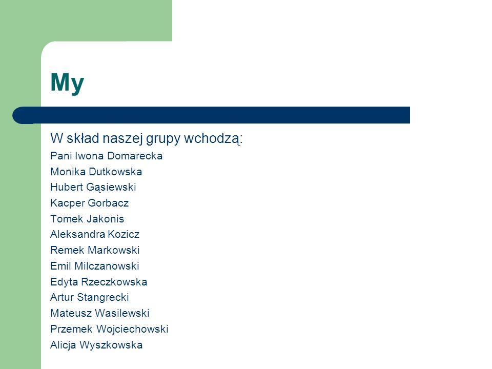 My W skład naszej grupy wchodzą: Pani Iwona Domarecka Monika Dutkowska