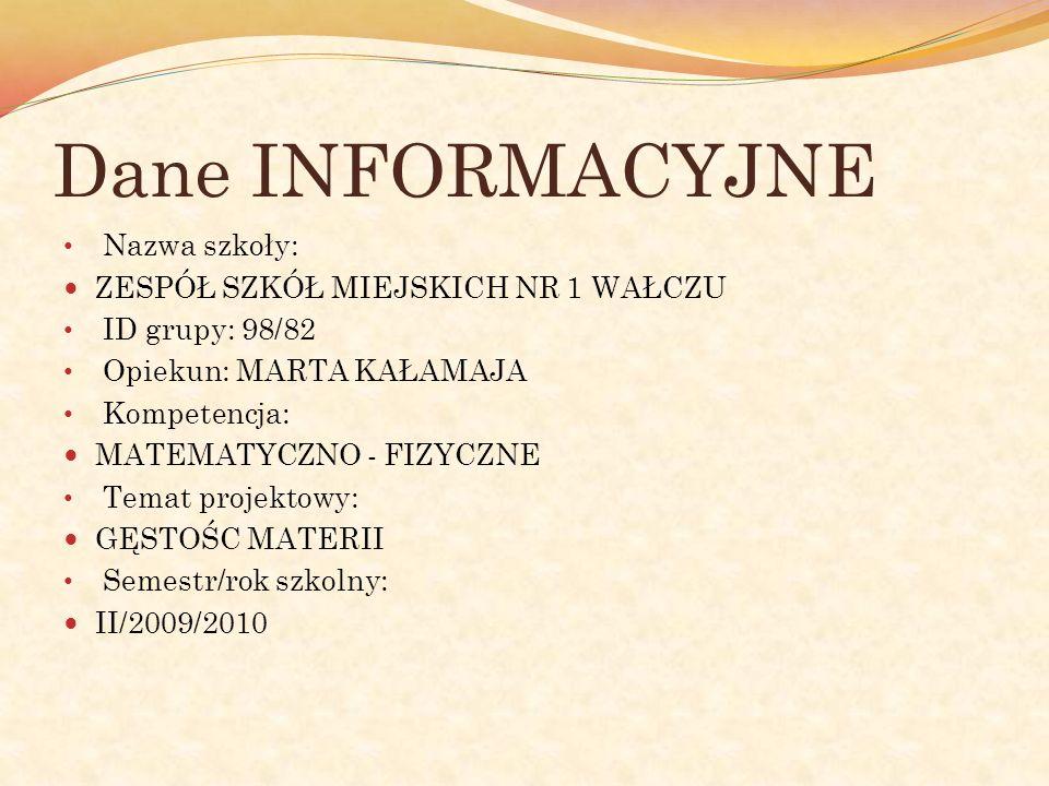 Dane INFORMACYJNE Nazwa szkoły: ZESPÓŁ SZKÓŁ MIEJSKICH NR 1 WAŁCZU