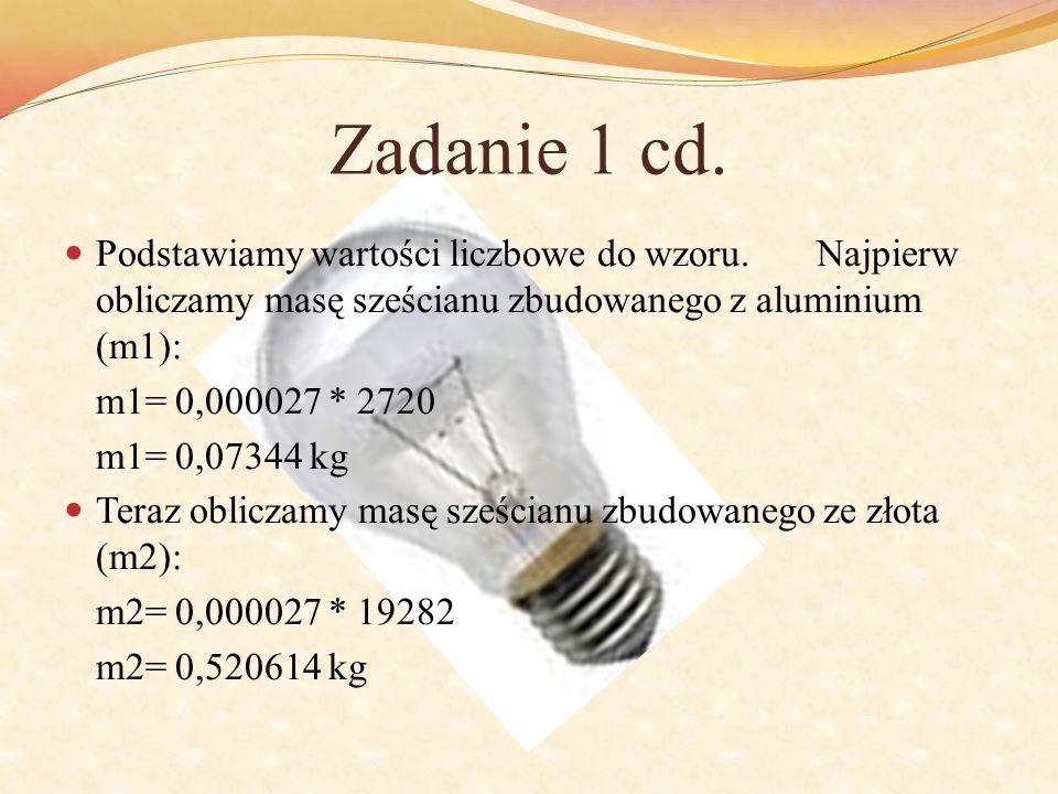 Zadanie 1 cd. Podstawiamy wartości liczbowe do wzoru. Najpierw obliczamy masę sześcianu zbudowanego z aluminium (m1):