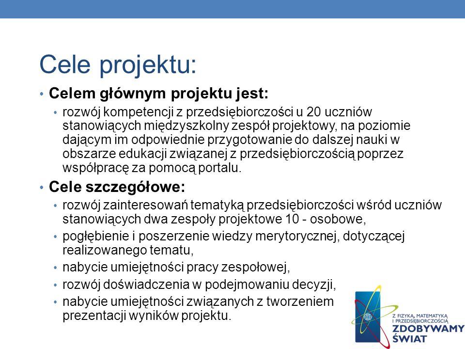 Cele projektu: Celem głównym projektu jest: Cele szczegółowe: