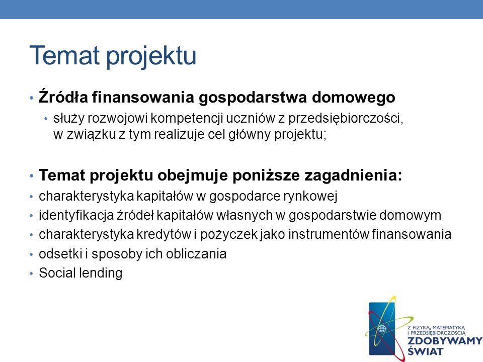 Temat projektu Źródła finansowania gospodarstwa domowego