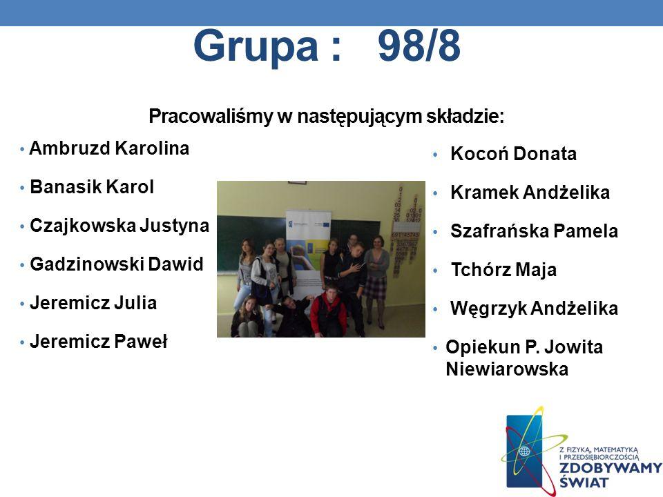 Grupa : 98/8 Pracowaliśmy w następującym składzie: