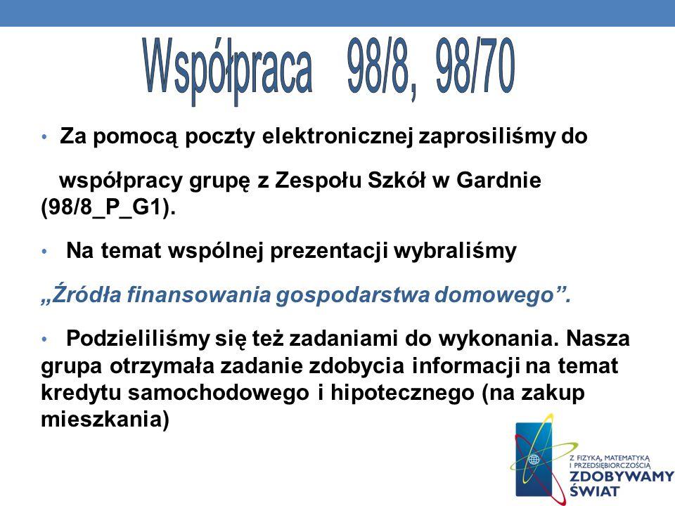 Współpraca 98/8, 98/70 Za pomocą poczty elektronicznej zaprosiliśmy do