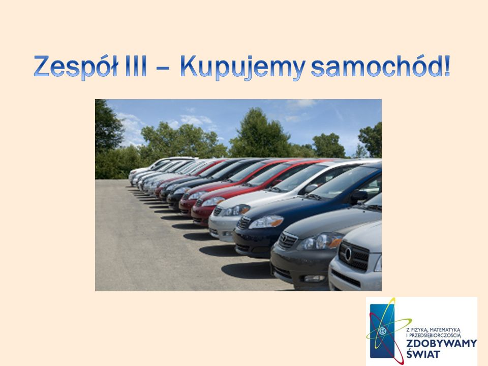 Zespół III – Kupujemy samochód!