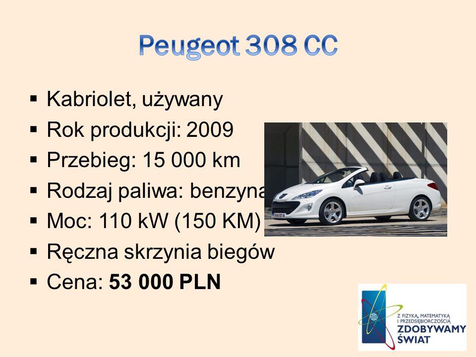 Peugeot 308 CC Kabriolet, używany Rok produkcji: 2009
