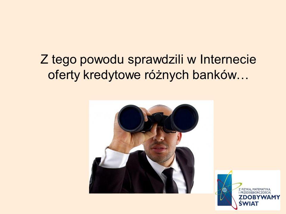 Z tego powodu sprawdzili w Internecie oferty kredytowe różnych banków…