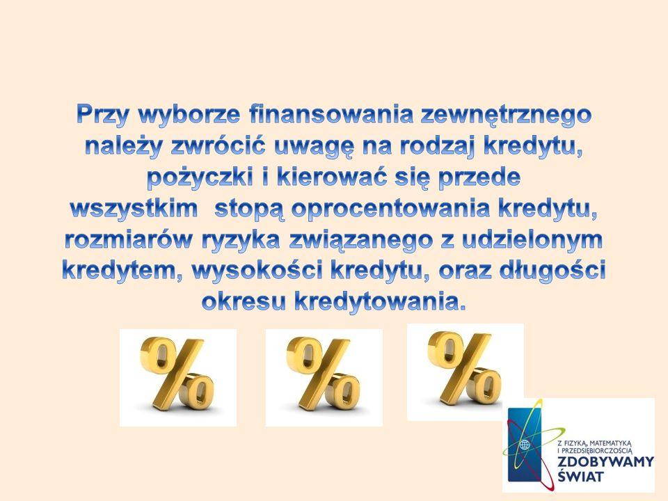 Przy wyborze finansowania zewnętrznego należy zwrócić uwagę na rodzaj kredytu, pożyczki i kierować się przede wszystkim stopą oprocentowania kredytu, rozmiarów ryzyka związanego z udzielonym kredytem, wysokości kredytu, oraz długości okresu kredytowania.